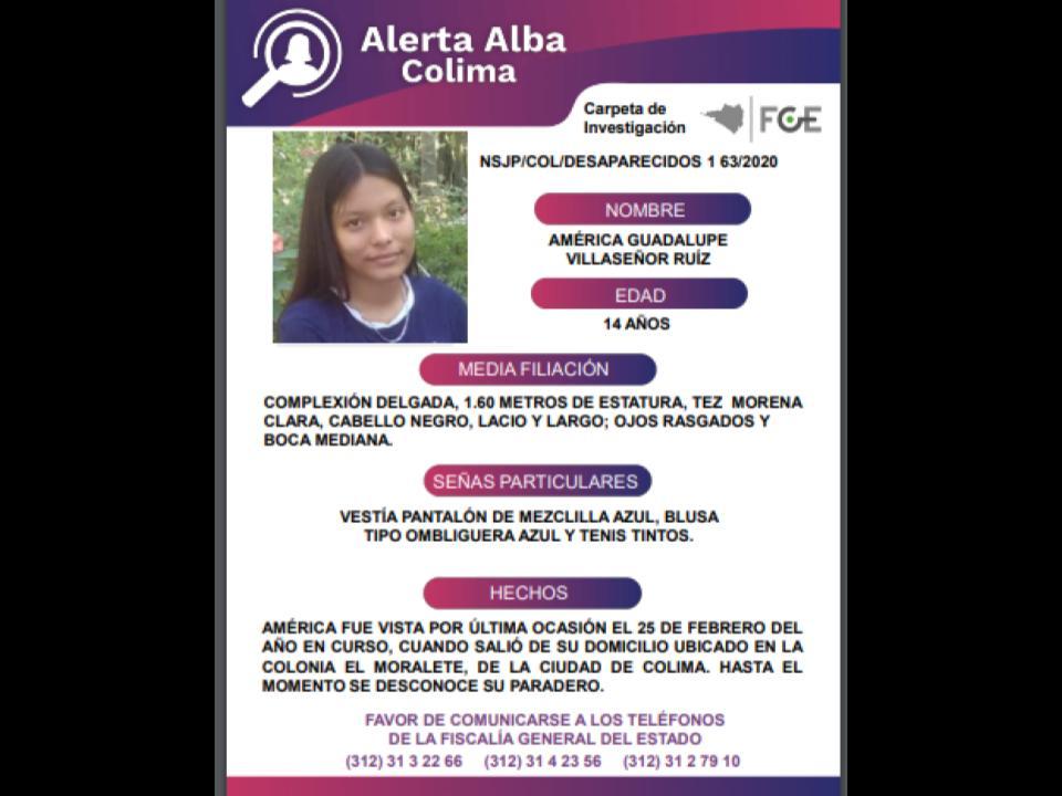 El Protocolo Estatal Alerta Alba, solicita su apoyo y colaboración para localizar a AMÉRICA GUADALUPE VILLASEÑOR RUÍZ