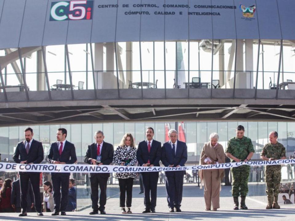 Amlo inauguró C5 en Hidalgo, hecho por la Misma empresa que lo construye en Colima