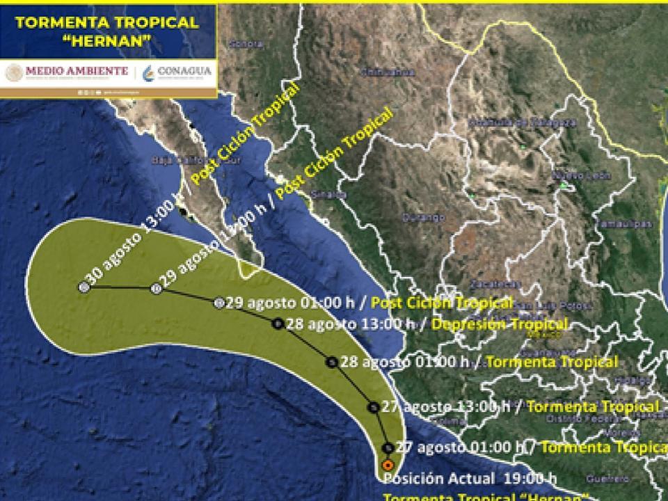 """íntesis: La tormenta tropical """"Hernán"""" ocasiona lluvias puntuales intensas en Jalisco, Colima, Michoacán, Guerrero y Oaxaca"""