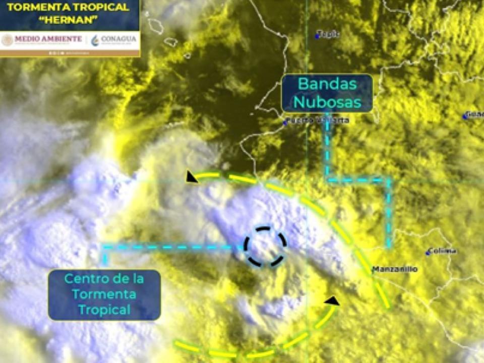 """La Tormenta Tropical """"Hernan"""" se mantiene al suroeste de Jalisco y en interacción con fuerte entrada de humedad del Océano Pacífico, generará lluvias torrenciales a puntuales extraordinarias en Nayarit"""