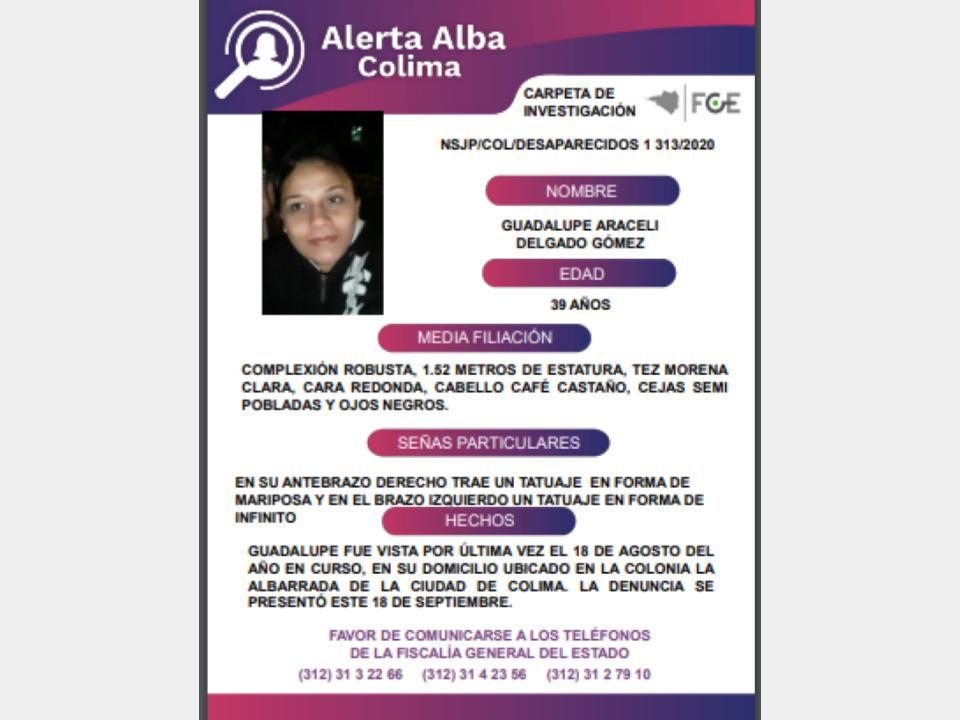 El Protocolo Estatal Alerta Alba, solicita su apoyo y colaboración para localizar a GUADALUPE ARACELI DELGADO GÓMEZ