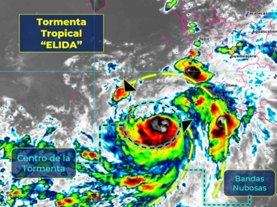 """Tormenta tropical """"ELIDA"""" al suroeste de las costas de Colima"""