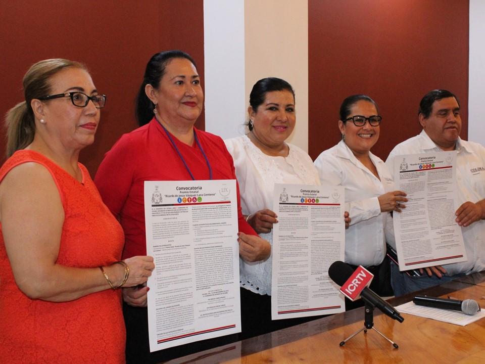 """Convoca congreso al premio estatal """"Ricardo de Jesús Vázquez Lara Centeno"""""""