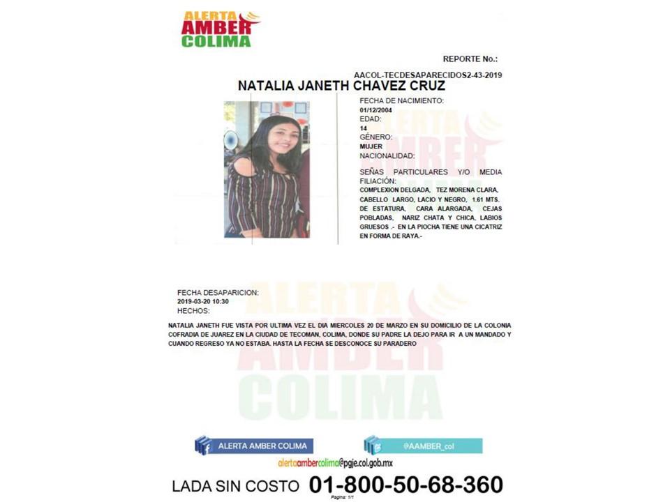Alerta Amber Colima solicita de su apoyo para localizar a la menor NATALIA JANETH CHÁVEZ CRUZ