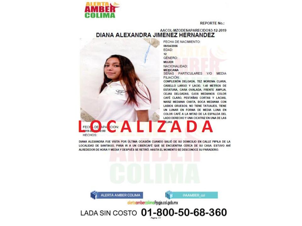 Ha quedado desactivada la Alerta que se emitió por la desaparición de la menor, DIANA ALEXANDRA JIMENEZ HERNANDEZ, debido a que ya fue localizada.