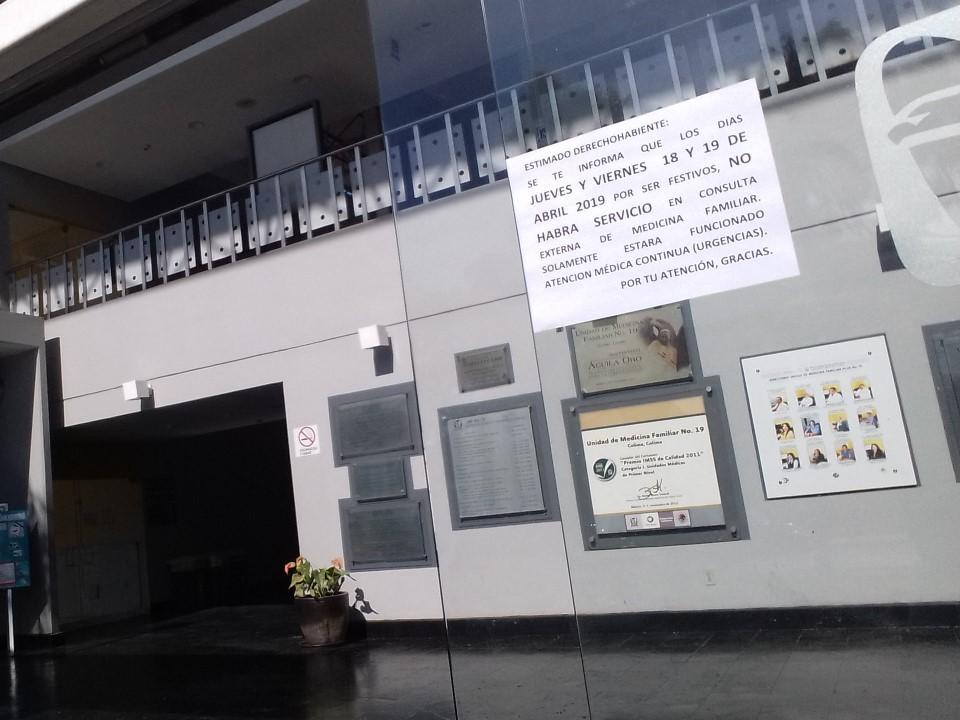 IMSS sólo atenderá Urgencias en días de asueto de Semana Santa
